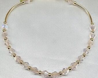 14k Gold  Bracelet Pink Crystal Bracelet Gold Bracelet Dainty Bracelet 14k Gold Filled Bracelet Stackable Bracelet BuyAny3+Get1Free