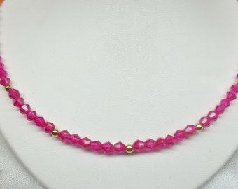 Hot Pink Necklace Crystal Necklace Fuschia Necklace Solid 14kt Gold Necklace or 14k Gold Filled Necklace Adjustable Necklace BuyAny+Get1Free