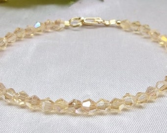 Girls Gold Crystal Bracelet Gold Baby Bracelet Gold Topaz Bracelet Crystal Bracelet Adjustable Bracelet Gold Filled Bracelet BuyAny+Get1Free