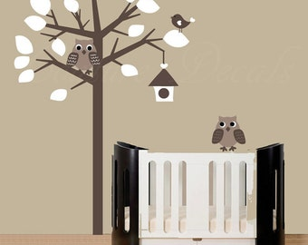 Childrens wall decal, decal kids, decal owls, owl decal, tree decal, wall decal, kids tree decal, baby tree decal, kids room decal