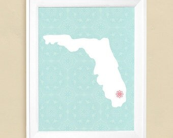 """Customized State or Country Print - Florida Style - Sizes 5""""x7"""" up to 42""""x70"""""""