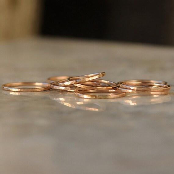 Stack Rings - Thin Stacking Rings - Rose Gold Stacking Ring Set - Stacked Ring Set