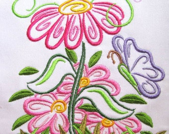 Outline Spring Flowers Machine Embroidery Design - 4x4, 5x7 & 6x8