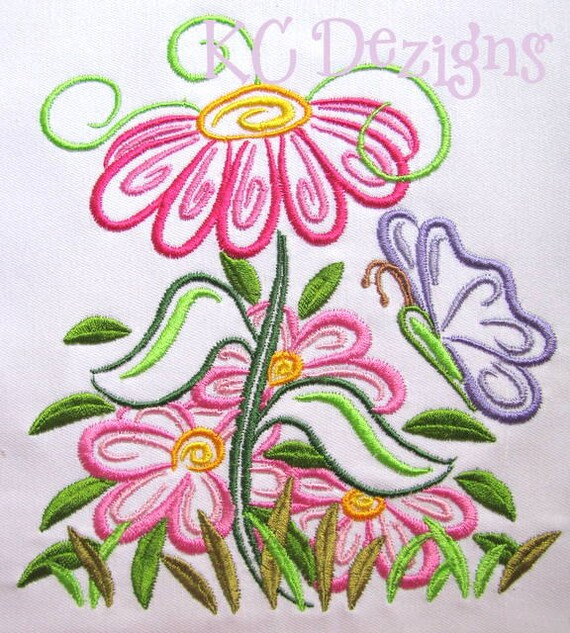 Outline spring flowers machine embroidery design