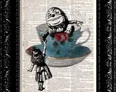 Alice In Wonderland Humpty Dumpty Tea Party Vintage Dictionary Print Vintage Book Print Page Art Upcycled Vintage Book Art