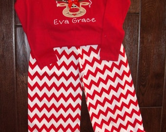 Boutique Christmas Diva Reindeer Chevron Pants and Shirt Sizes 3M to 8 youth