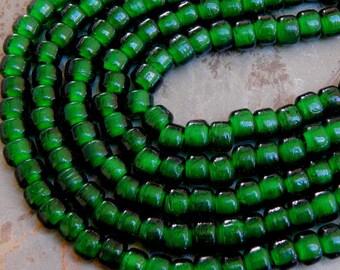 9mm Translucent Emerald Green Glass Crow Beads,  25 Inch Full Strand (TEGIND1C08)