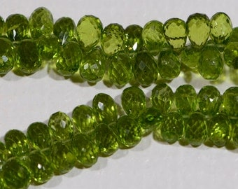 Peridot Faceted Teardrop Beads Natural Gemstone Beads Jewelry Making Supplies