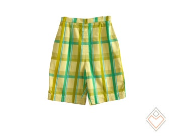 1970 bright laid high-waisted shorts // 70s green vintage shorts // 26 inch waist // Jack Winter autograph collection