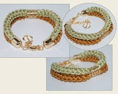 Nautical accessories, Cotton Cord Bracelet, Cotton Double Rope Bracelet, Eco-fridendly Bracelet, Cotton Rope Bracelet, Khaki Green, Old Gold