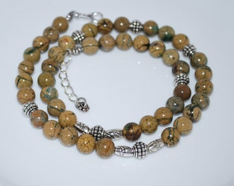 Verdite Gemstone Necklace, Semi Precious Gemstone Necklace, Men's Necklace, Mens Necklace, Natural Gemstone Necklace, Unisex Necklace