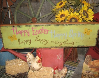 """Primitive Wood Sign Easter Holiday  Bunny Rabbit """" Happy Easter Happy Spring  """" Handpainted Country Folkart Housewares Wall Decor"""