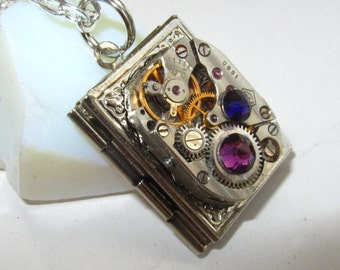 Steampunk  necklace book locket  with vintage watch  movement, purple and royal blue Swarovski crystals, Silver locket, Photo locket