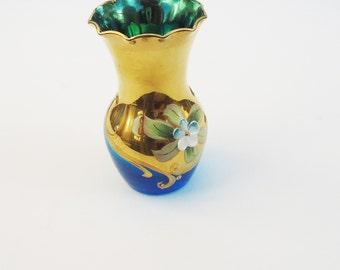 Vintage Bohemian Czech Aqua Blue Floral Enamel Gold Accent Art Glass Vase, Miniature Bohemian Vase, UK Seller