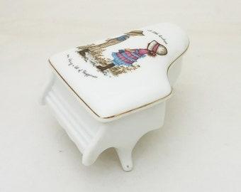 Vintage Petticoats and Pantaloons Genuine Porcelain Piano Trinket Box, UK Seller