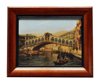 Vintage 1920s Hand Colored Photograph - Rialto Bridge Venice Italy - Wall Hanging - Vintage Wall Decor - Framed Artwork, Art