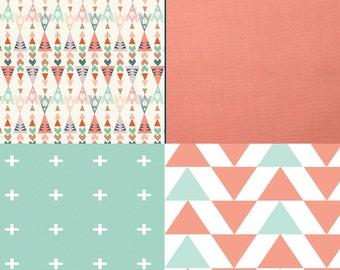 Baby Bedding Crib Quilt and Crib Skirt Teepee and Cross Premium Prints