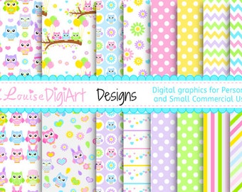 Digital Owl Easter Spring patterned papers in 8.5 by 11 and 12 by 12 for Personal and Small Commercial Use