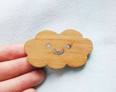 Little Cloud Brooch - laser cut bamboo