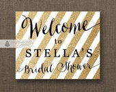 Gold Glitter Stripe Welcome Sign Black & Gold Bridal Shower Wedding Buffet Food Table Sign Printable 8x10 DIY Digital or Printed - Stella