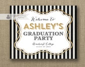 Gold Glitter Welcome Sign Black & White Stripe Graduation Party Wedding Buffet Food Table Sign Printable 8x10 DIY Digital or Printed- Ashley