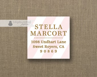 "Blush Pink & Gold Address Labels Small Stickers 1.25"" Square Bridal Shower Printable Return Address Labels DIY Digital or Printed- Stella"