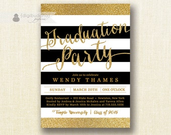 Gold & Black Graduation Party Invitation Glitter Stripes Black Modern Script Bachelorette FREE PRIORITY SHIPPING or DiY Printable - Wendy