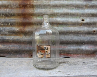 Large Vintage Glass Jar Wellers Tomato Catsup Old Glass Bottle Jug Country Farm House Rustic Kitchen Decor Storage Finger Loop Handle Old