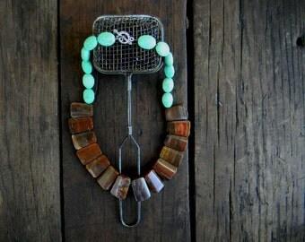 Handmade Statement Jasper Necklace Wedding Sundance style jewelry