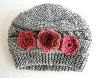 READY TO SHIP Baby Girl Hat With Flower - Hand Knitted Baby Hat - Baby Ear Flap Hat, Baby Hat