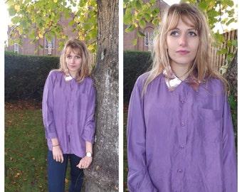 SALE! Reworked Metallic lilac silk shirt