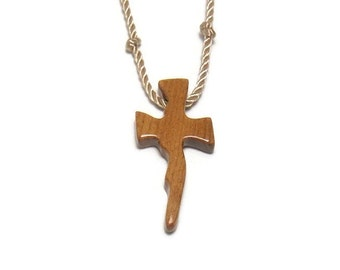 Wooden Cross Necklace - Handcrafted Cherry Hardwood - Men's Necklace