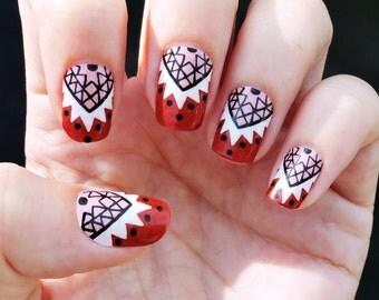 Real nail polish strips. Half moon tribal nail decal wraps