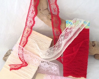 Lace by the yard - Lace Trim Lot - Vintage lace - Cottage Chic - scrapbooking lace - doll clothes - Christmas crafts - altered art accents