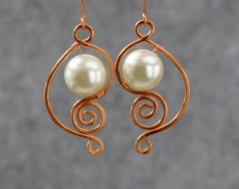 Copper scroll wiring pearl dangle earrings Bridesmaids gifts Free US Shipping handmade Anni Designs
