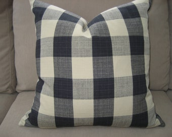 Checked pillow cover - 18x18 Beige and Black Plaid Pillow cover - Decorative Pillow Cover(s)