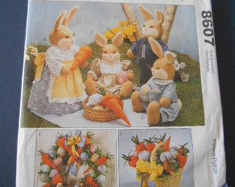 "McCalls 8607, Easter Bunny dolls, 19"", 20"", 11.5"""