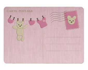Instant download post card baby machine embroidery design applique