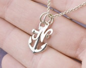 Anchor Necklace, Sterling Silver Anchor, Anchor Pendant, Nautical Jewelry, Ship Anchor, Inital Charm, Personalized