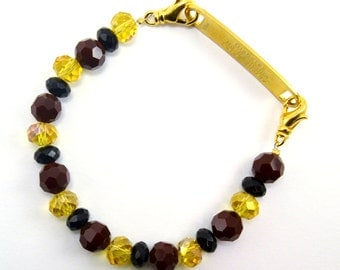 Interchangeable Red, Black, and Amber Beaded Medical Bracelet Attachment