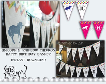 Unicorn Party Banner, MAGENTA, with rainbow chevrons