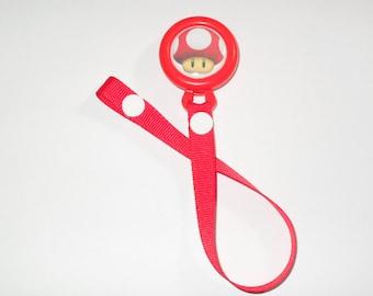 Red Mushroom Pacifier Clip