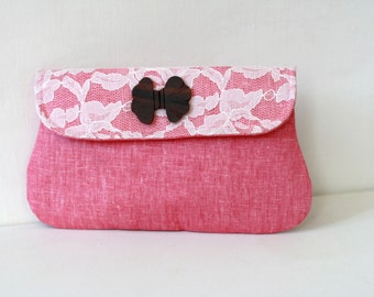 Bridesmaid Clutch Pink Linen with lace covered flap and bow wooden button