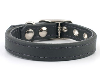 Soft School Grey Leather Dog Collar