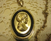 Vintage Oval Pendant Lady Cameo Necklace on 24 inch Chain