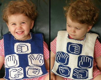 "Reversible baby bib (""Rock, Paper, Scissors, Lizard, Spock"") knitting pattern (PDF)"