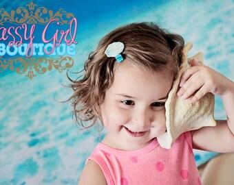 Toddler Infant Seashell- Embroidered Boutique Clip For Girls-Ocean Beach Seashell Felt Clip-No Slip Grip