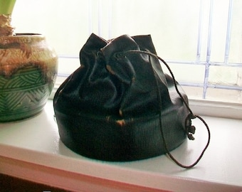 Victorian Purse Black Leather with Drawstring Silk Lined Late 1800s