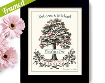Unique Wedding or Engagement Gift - Romantic Gift - Bridal Shower Framed Gift - Personalized Art Print - Wedding Tree