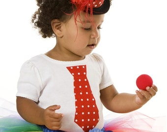 READY TO SHIP:  Cutie Patootie Clown Tie T-Shirt - Red & White - Halloween or Birthday Costume - 6-9m Onesie 24m 3T Shirt - Infant Toddler